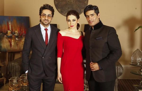 Ayushmann,Karisma And Manish Spotted At The Masala Awards 2012