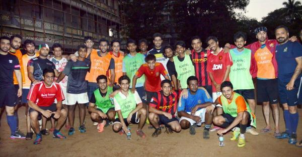 Abhishek,Ranbir And Raj With Other Football Players At ASFC Practice Sessions