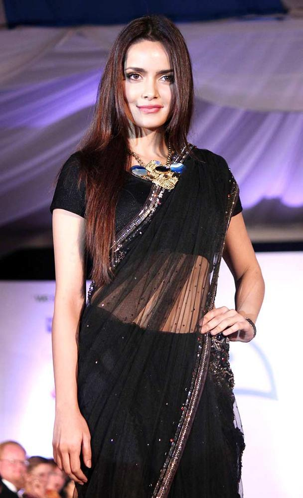 Shazahn Padamsee Sexy Look In Saree At Global Peace Fashion Show