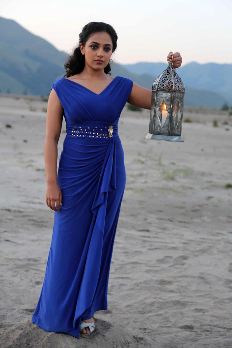 Nithya Menon In Blue Dress Glamour Still