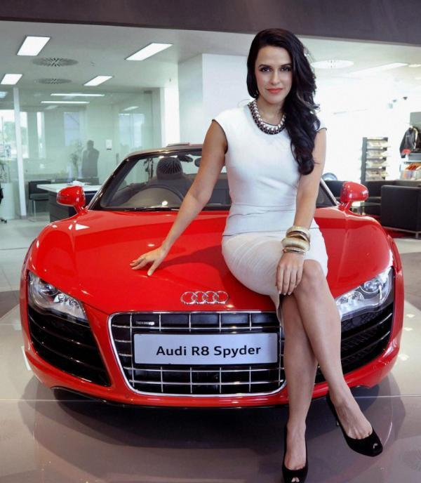 Neha Dhupia Poses With An Audi R8 Spyder During The Launch Of Its Showroom