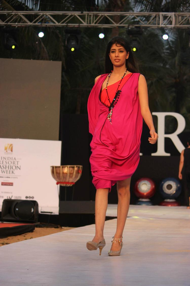 A Model Looks Marvelous On Ramp  In Pink Designer Dress At IRFW 2012 In Goa