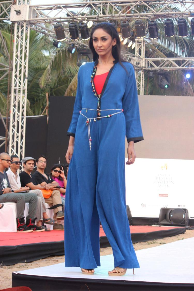 A Model On Ramp In Blue Suimsuit For James Ferreira At IRFW 2012 In Goa