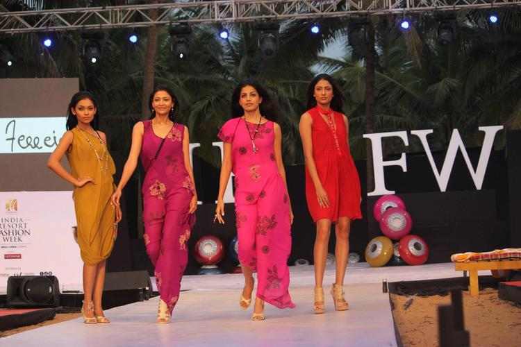 Models Walk In Attractive Colored Collection Dress At IRFW 2012 In Goa