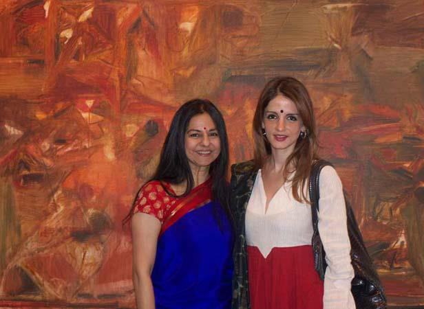 Suzzane With Sangeeta Posed At SH Raza Art Show