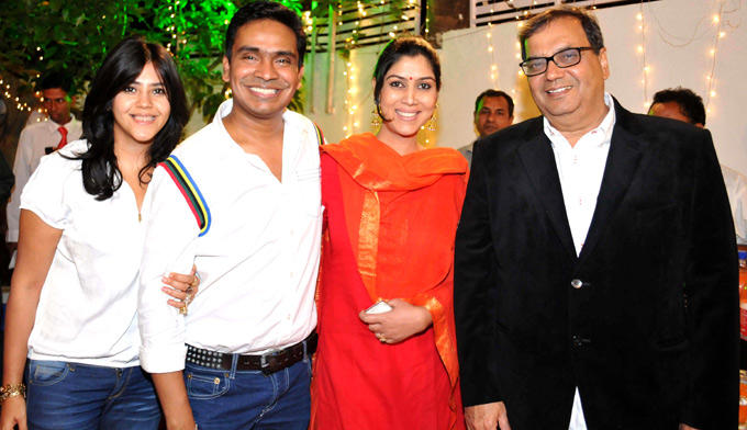 Ekta,Mushtaq,Sakshi And Subhash Photo Clicked At Mushtaq Sheikhs Niece Aqeeqah Function