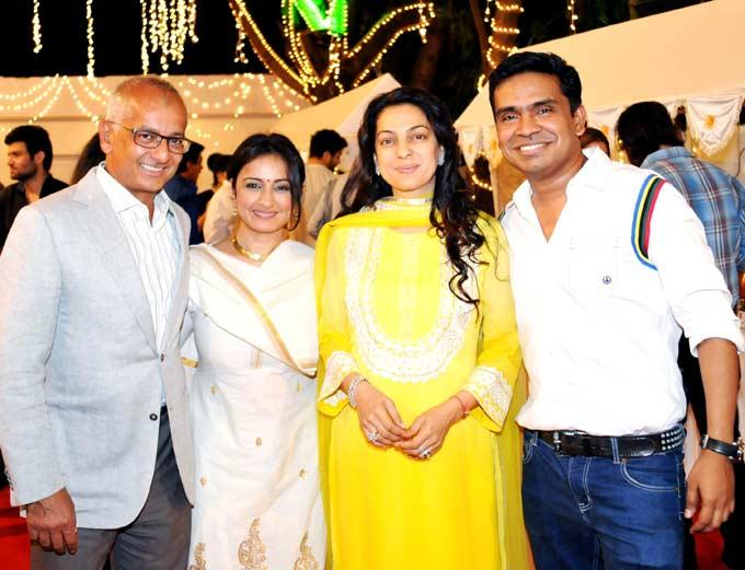 Mushtaq,Juhi Chawla,Jai And Divya Pose For Camera At Mushtaq Sheikhs Niece Aqeeqah Ceremony