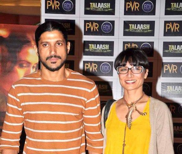 Farhan Akhtar And Wife Adhuna Smiling Pose At Talaash Premiere