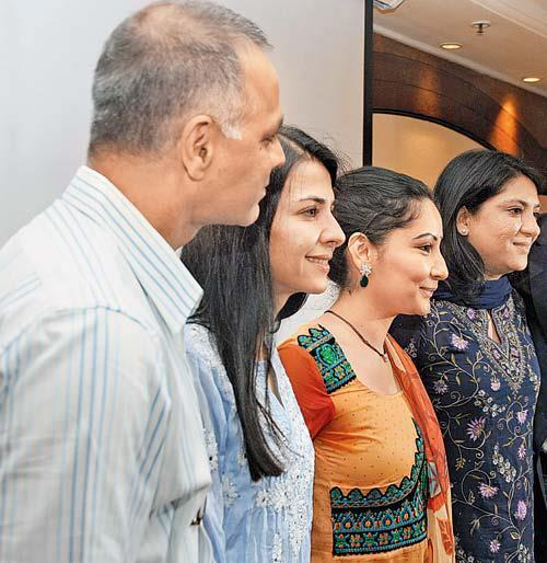 Manyata,Priya And Namrata Smiling Pose At Charitable Event By Nargis Dutt Foundation