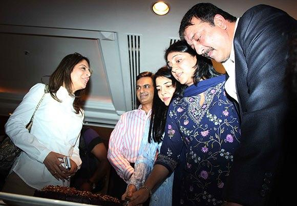 Sanjay With Two Sisters Namrata And Priya At Charitable Event By Nargis Dutt Foundation