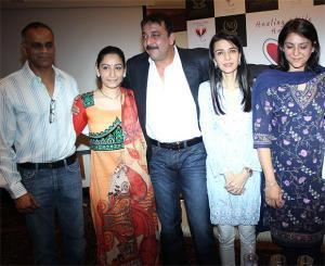 Sanjay,Manyata,Priya And Namrata Posed At Charitable Event By Nargis Dutt Foundation