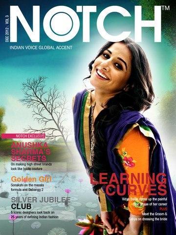 Vidya Balan Cute Smiling Photo On The Cover Of NOTCH  December