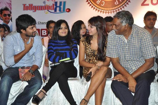 Madhavi,Nani And Sanjjanaa Snapped At Crescent Cricket Cup 2012 Press Meet