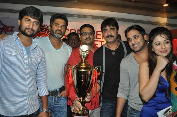 Nani,Sunil,Srikanth,Tarun And Madhurima Snapped At Crescent Cricket Cup 2012 Press Meet