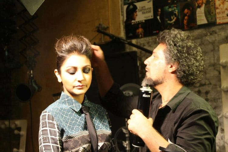 Anushka With Hair Dresser Photo Clicked During Photo Shoot For Verve Magazine
