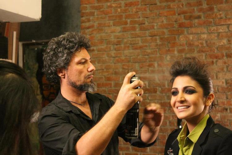Anushka Sharma Hair Dressing Photo During Photo Shoot For Verve Magazine