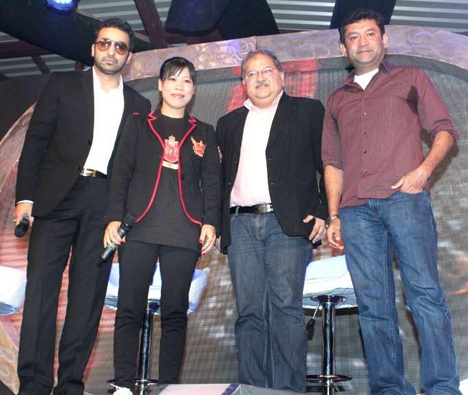 Raj Kundra And Olympic Boxer Mary Kom At SFL Perfume Event
