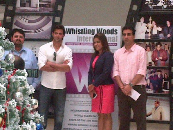 Hrithik And Meghna With Guests Posed For Camera During Launch Of Virtual Academy Held At Whistling Woods