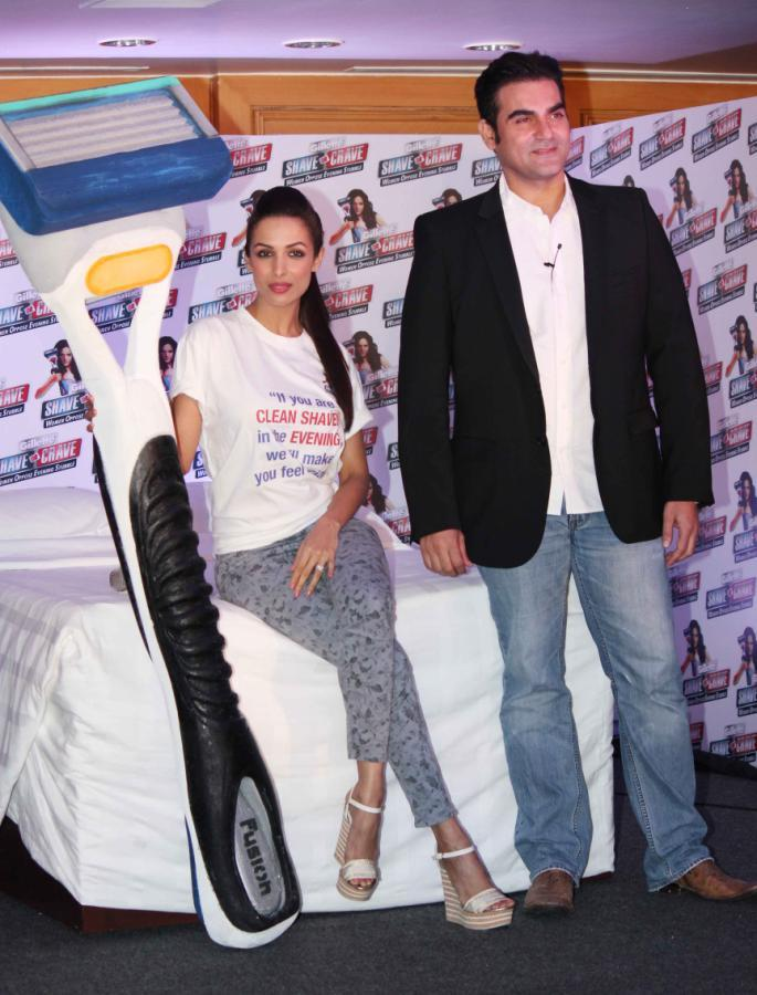 Bollywood Actors Arbaaz And Malaika At Gillette Shave Or Crave Movement Event