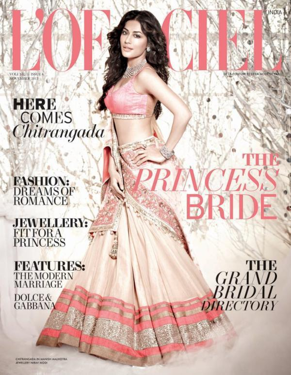 Chitrangada In A Bridal Costume On The Cover Of L Officiel India  Nov 2012