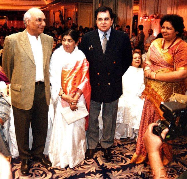 Dilip Kumar With Late Yash Chopra And Lata Mangeshkar Nice Still