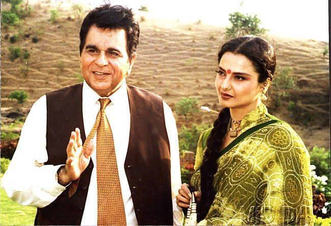 Dilip Kumar With Rekha Smiling Still