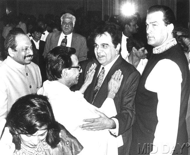 Dilip With Late Bal Thackeray And Steven Seagal Nice Still