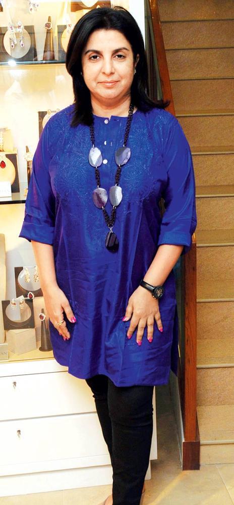 Farah Khan In Blue Outfit At Farah Khan Jewels Launch Event