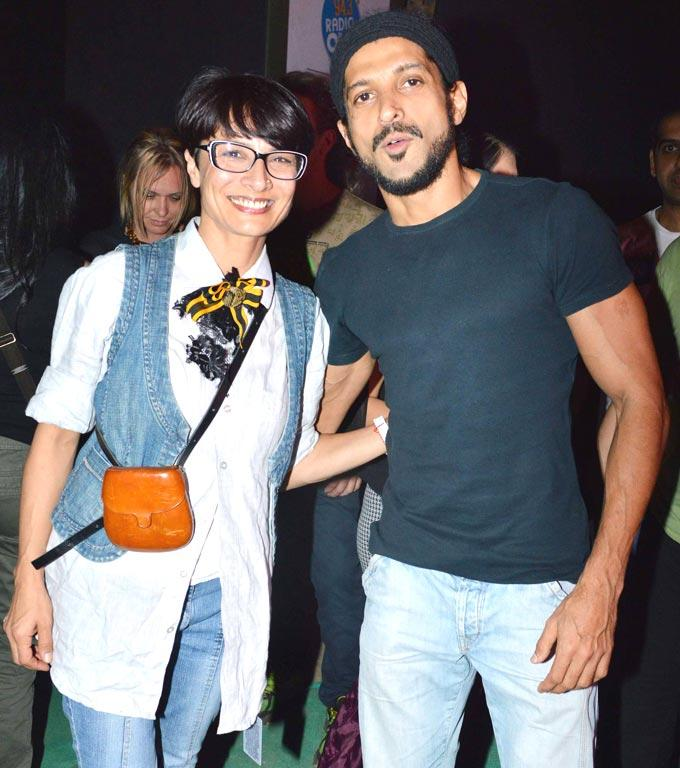 Farhan Akhtar With Wife Adhuna Smiling Pose At Guns N Roses Concert