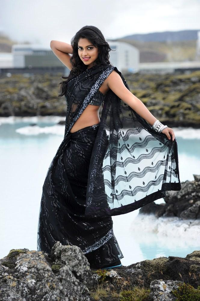 Amala Paul In Black Saree Hot Still
