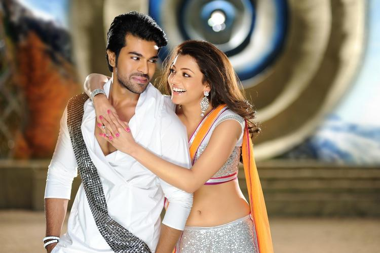 Ram Charan And Kajal Smiling Still From Nayak Movie