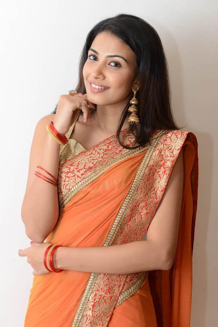Kavya In Saree Glamour Look Still At Shivani Movie Audio Release Function