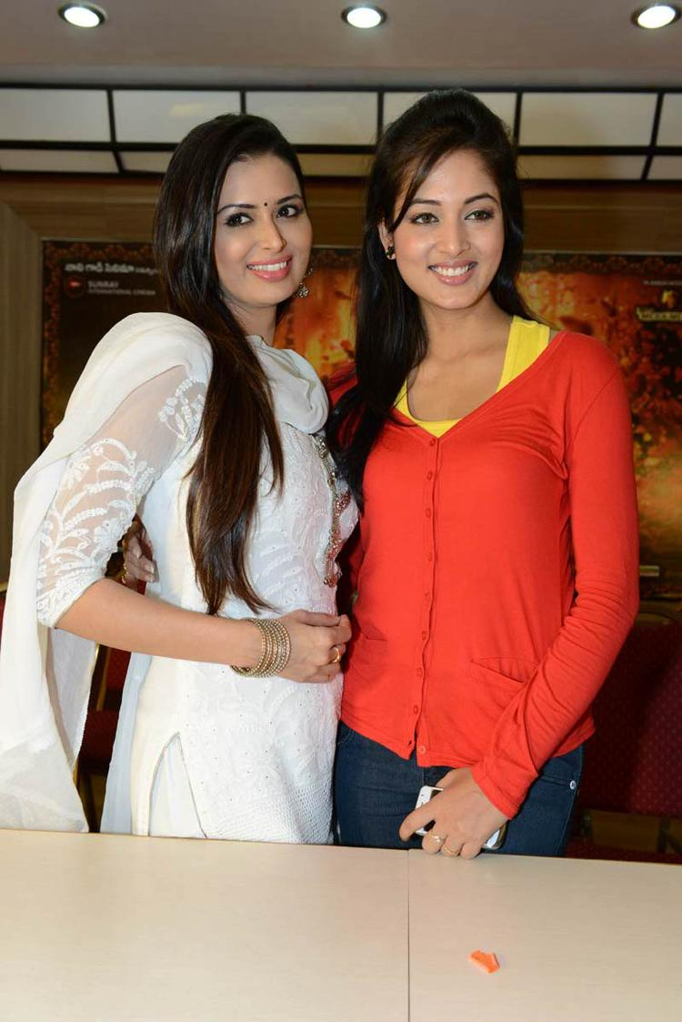 Meenakshi And Vidisha Smiling Face Look Photo Clicked At Devaraya Movie Success Meet