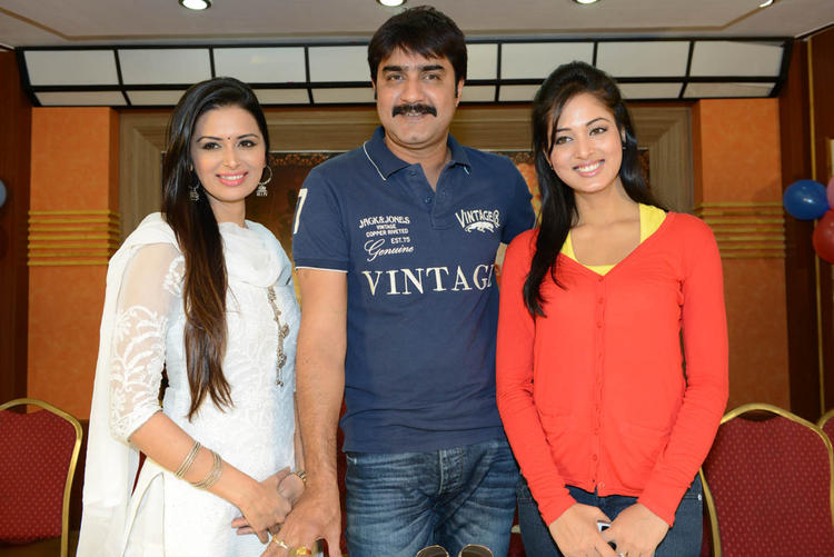 Meenakshi,Srikanth And Vidisha Nice Pose Photo At Devaraya Movie Success Meet