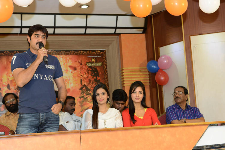 Srikanth,Meenakshi And Vidisha On Stage At Devaraya Movie Success Meet