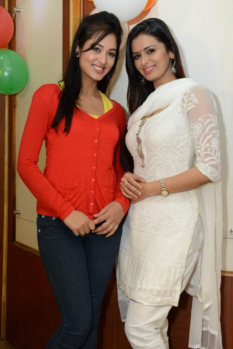Vidisha And Meenakshi Nice Look With Cute Smiling Pose At Devaraya Movie Success Meet