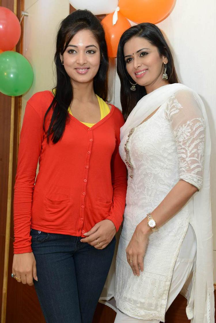 Vidisha And Meenakshi Trendy Looking Photo At Devaraya Movie Success Meet