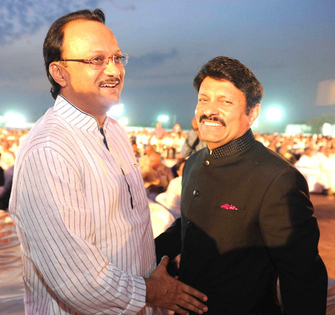 Deputy CM Ajit Pawar With Builder Avinash Bhosale Snapped At Swapnali And Vishwajeet Wedding
