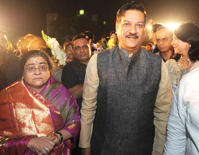 Maharashtra CM Prithviraj Snapped During Swapnali Bhosale And Vishwajeet Kadam Wedding