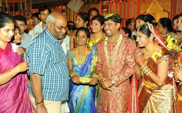 Keeravani With Wife Srivalli Attend The Music Director Koti Daughter Wedding