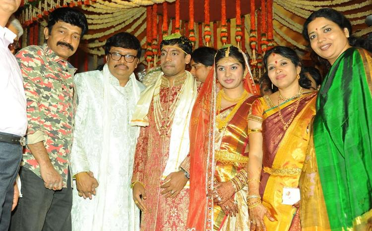 Rajashekar With His Wife Jeevitha Clicked At Music Director Koti Daughter Wedding