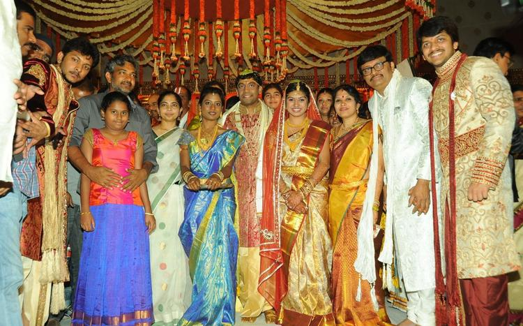 S. S. Rajamouli,Rama With Bride And Groom Snapped At Music Director Koti Daughter Wedding