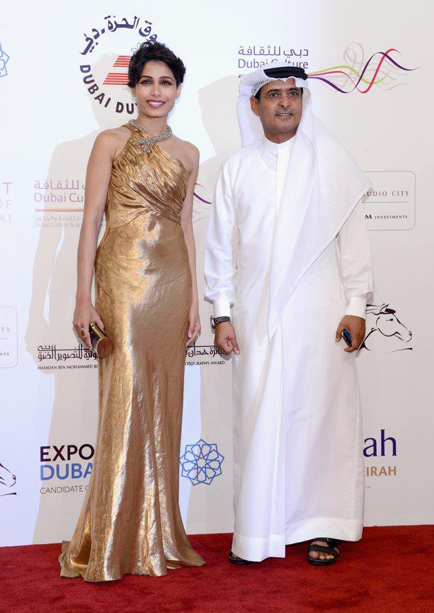 Frieda With A Guest Snapped At The Screening Of Life Of Pi At Dubai International Film Festival