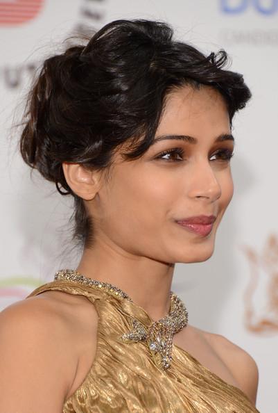 Frieda Looked Beautiful In A Golden Dress At The Screening Of Life Of Pi At Dubai International Film Festival