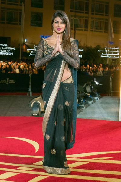 Priyanka Dazzled On The Red Carpet In A Traditional Indian Wear At The Marrakech Film Festival