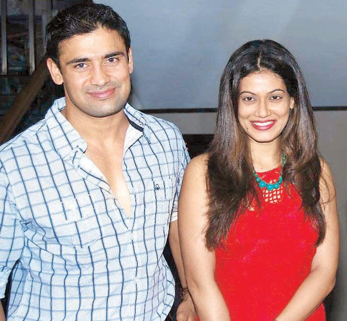 Sangram With Payal Smile For Cameras At Bright Advertising Awards Announcement