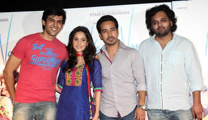 Kartik,Nushrat,Abhishek And Luv Ranjan Pose For Camera At  At The First Look Launch Of Movie Aksh Vani