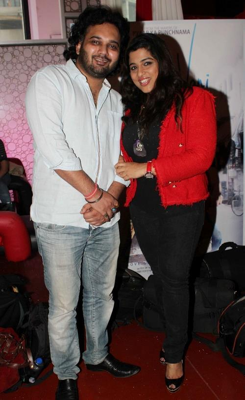 Luv Ranjan With A Guest Pose For Photo At The First Look Launch Of Movie Aksh Vani