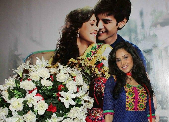 Nushrat Posed With Movie Wallpaper At The First Look Launch Of Movie Aksh Vani