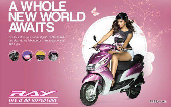 Deepika Padukone Riding Yamaha Ray Bike Photo For Ad